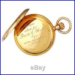 Rare Patek Philippe Pocket Watch C1880 18k Yellow Gold Demi Hunter Case