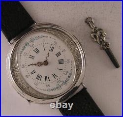 Rare Silver Case 150-Years-Old Cylindre Swiss Wrist Watch A+ Fully Serviced