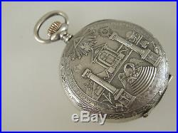 Rare Silver Masonic case and Dial Pocket watch c1910