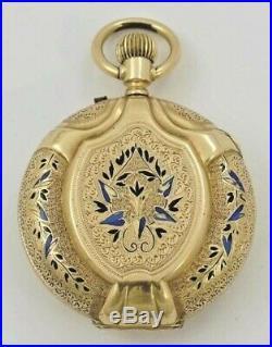 Rare Tobias Genève 14K gold enamel hunter case pocket watch for Imperial Russia