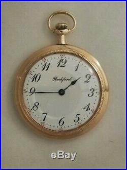 Rockford 0/12S. (1911) RARE 15 jewels Winona 14K gold filled blue enameled case