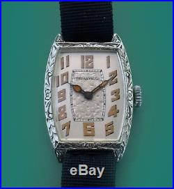SERVISED Vintage 1920s Tiffany & Co Men's Small Wrist Watch Engraved Case