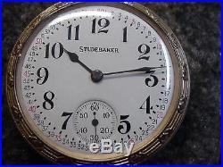 SOUTH BEND STUDEBAKER 21J POCKET WATCH 16S w RAILROAD MODEL 10K GOLD FILLED CASE
