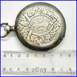 Silver 875 Pocket Watch Tobias Antique Case Parts 1800s Movement Rare Retro Vint