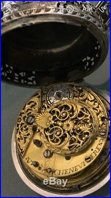 Silver Repeater Pair Case Repousse Verge Fusee Urbain Cheneviere Pocket Watch