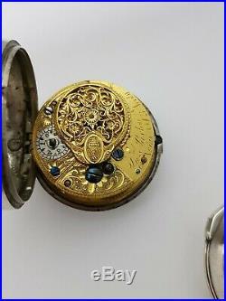 Silver pair case verge fusee calendar pocket watch