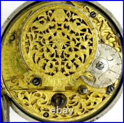 Silver pair cased pocket watch, champleve dial Cleeter, London, c1705