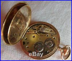 Small Pocket Watch 18K & Enamel Hunter Case all original 30,5 mm. In diameter