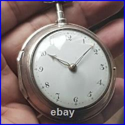 Squire murgatroyd pair case silver pocket watch from 1769 working condition