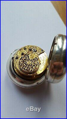 Sterling silver pair cased verge fusee pocket watch 1760