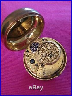 Tortoiseshell English Verge Fusee Pair Case Watch key Wind Not Run FOR REPAIRING