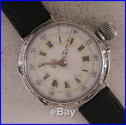 UNIQUE ENGRAVED SILVER CASE Cylindre Fully Serviced 1900 Swiss Wrist Watch A+