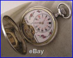 Unique Silver Hunter CASE Serviced Hebdomas 8 Days 1900 Swiss Pocket Watch Mint
