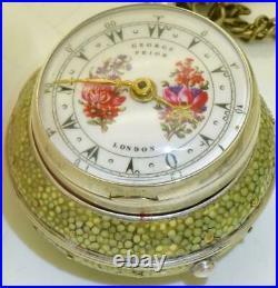Unique antique George Prior Verge Fusee pair case enamel pocket watch. Ottoman