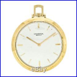 Universal Geneve Mechanical 17j 18k Gold Thin Open Face Case Pocket Watch 39mm