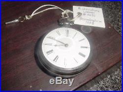 Verge Fusee Pair Case English Sterling Pocket Watch R Johnstone London #5033