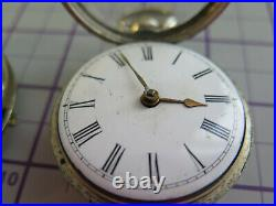 Verge / fusee pocket watch for parts spares and or repairs pair cased 55mm