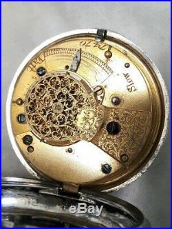Verge watch. Pair case BIG HEAVY Silver! (FULL WORKING ORDER) 1857