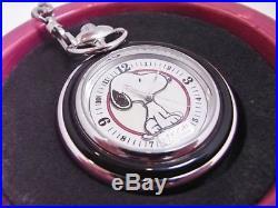 Very Rare FOSSIL Pocket Watch Snoopy LI-1659 Limited Quartz Silver w / Case SN