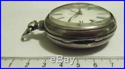 Victorian pair case verge fusee Silver pocket watch. London maker
