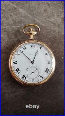 Vintage 12 Size Hamilton Grade 910 Pocket Watch With Swing Out Case