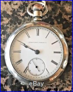 Vintage 18 Size Elgin Open Face Silverene Case Pocket Watch Grade 81 Key Wind