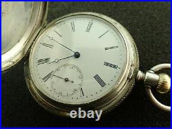 Vintage 55mm Longines Hunting Case Pocket Watch From 1880's Keeping Time