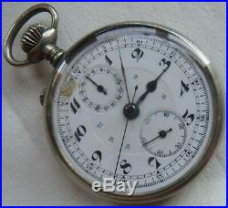 Vintage Chronograph Pocket Watch Open Face Nickel Case 51,5 mm. In diameter