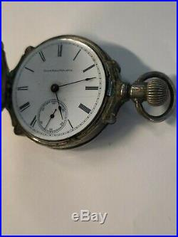 Vintage Coin Silver 18s Box Hinge Pocket Watch Case With Elgin Movement As Is