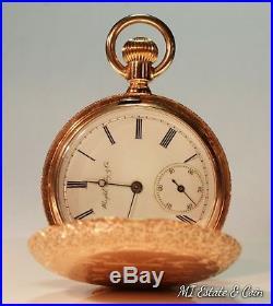 Vintage Gold Pocket Watch, Wright, Kay & Co. Detroit Solid 14K Gold Case
