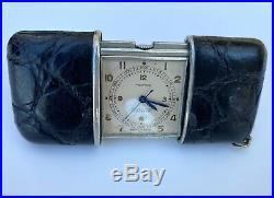 Vintage Movado Ermeto Chronometre Travel Watch, Alligator Case, c1950