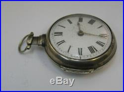 Vintage Pair Case Fusee Pocket Watch Lawson Bradford Silver Case 49mm London