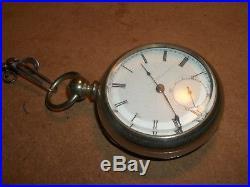 Vtg. 1870-80's Home Watch Co. Key Wind Heavy Case Pocket Watch withKey Runs Well