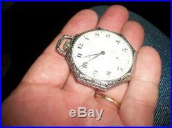Vtg. Working 1919 Waltham Pocket Watch/Model 1894 Size 12 Star Hexagon Case