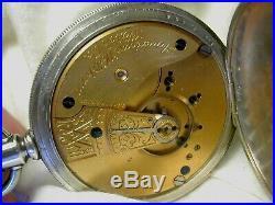 WALTHAM 16s O/F POCKET WATCH P/S. 925 COIN SILVER HINGE CASE 15-J MDL-1883 RUNS