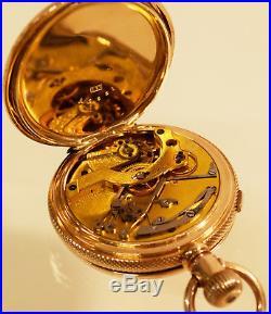 WALTHAM Rare 1874 Chronograph 14s 14K Solid Gold Hunter pocket watch Heavy Case