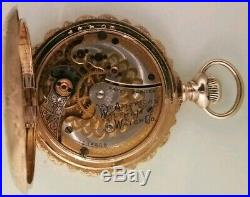Waltham 0S. 15 jewels RARE Two-tone movement fancy dial 14K. Gold hunter case