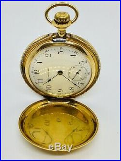 Waltham 14k Solid Gold Pocket Watch 1896 Hunter Case Size 16 Immaculate