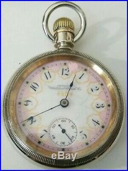 Waltham 18S. 11 Jewel (1892) very fancy dial model 1883 grade No. 3 nickel case