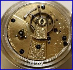 Waltham 18S P. S. BARTLETT 11 jewels adjusted model 1857 key wind silveroid case