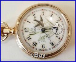 Waltham 7 jewel bond st. Great fancy dial super 14K of case