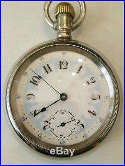 Waltham Appleton Tracy 18S. Fancy dial 15 jewels adjusted (1888) silveroid case