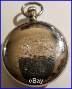 Waltham Crescent St. 18S 21 jewels adjusted (1901) silverine locomotive case
