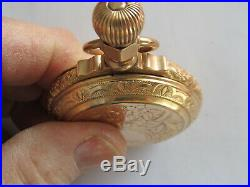 Waltham Gold Box Hinge Case Columbus, Model 2, 18 Size Pocket Watch Fancy Dial