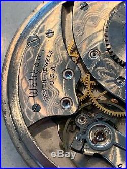 Waltham Grade 210 Pocket Watch With Chain 1894 12s 7j Nickel Alloy Case F2435