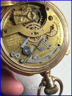 Waltham Hillside Chronograph 14s, 13j Pocket Watch In 14k Gold Hunter Case