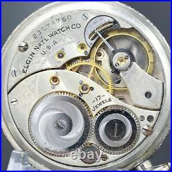 White Gold 1921 ELGIN 17 Jewel Pocket Watch 12s Grade 345 Fancy Case EXCELLENT