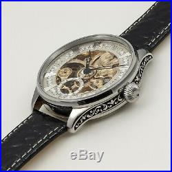 Wristwatch from Pocket Watch Vintage Movement New Steel Case Hand Engraved HWC