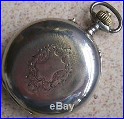 XFine Chronograph Pocket Watch Silver Case Open Face 52 mm. In diameter