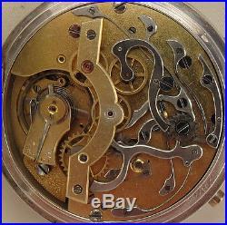 XFine Rare Chronograph Rattrapante Pocket Watch Silver Case 54,5 mm. In diameter